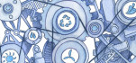 Engine parts with sustainability symbols