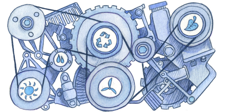 Engine parts with sustainability symbols