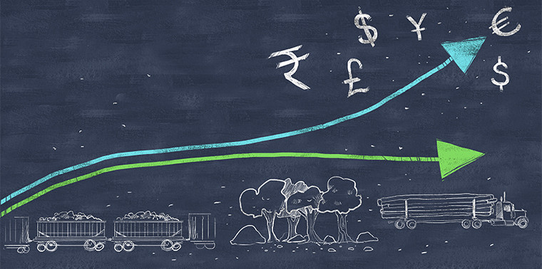 Two upward paths representing natural resources and money