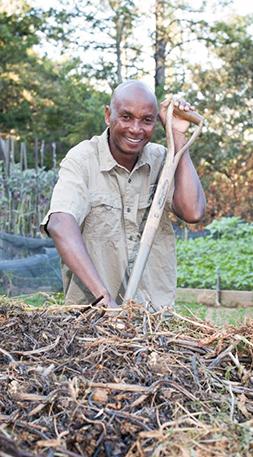 Kenyan Jonas Mlegwah at the Common Ground mini-farm