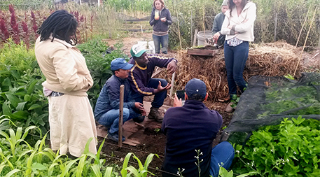 Sammy Kang'ete, an intern from Kenya, teaches visitors at the Golden Rule mini-farm