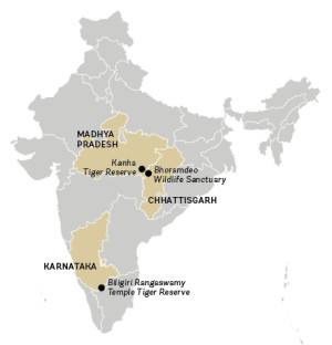 Map of Kanha and Biligiri Rangaswamy Temple tiger reserves