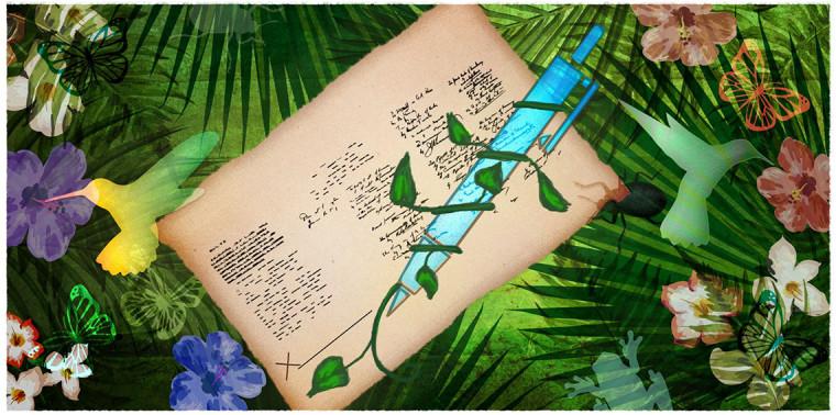 Biodiversity surrounding pen signing legal document