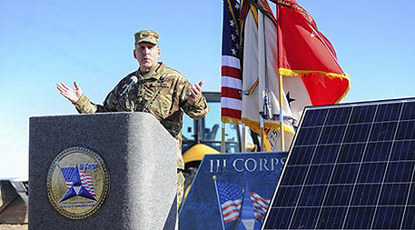Major General John Uberty, Fort Hood deputy commanding general, showcased the U.S. Army post's new solar and wind renewable energy project at a groundbreaking ceremony in January. U.S. Army photo by Kelby Wingert, Fort Hood Public Affairs