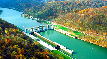 One way to make dams more sustainable is to not build new ones, but instead modify non-powered dams, like the Opekiska Lock and Dam in West Virginia (pictured here), to generate electricity. The U.S. Department of Energy estimates that equipping such dams with these capabilities could provide as much as 12 gigawatts of renewable energy and cost less than creating brand new powered dams. Photo by U.S. Army Corps of Engineers.