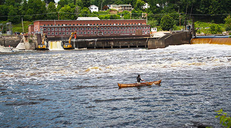 As part of a project known as the Penobscot Restoration Trust two functioning hydroelectric dams were removed on the Penobscot River in Maine resulting in the return of fish species such as river herring, American shad and Atlantic salmon — while not reducing total hydroelectric output. Photo by U.S. Fish and Wildlife Service Northeast Region