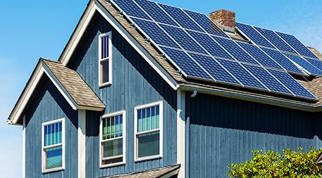 solar panels on housetop