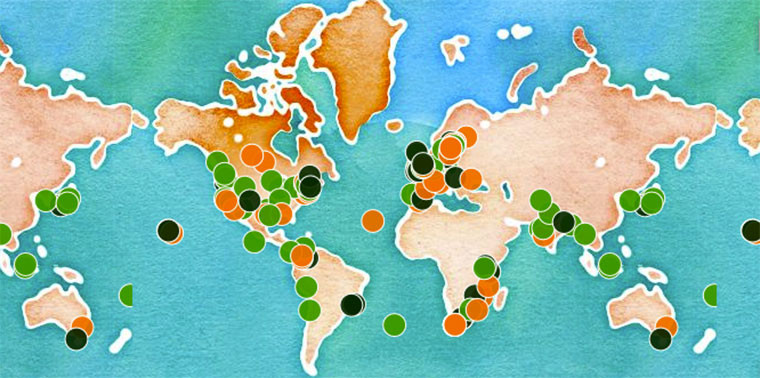 world map with highlighted sustainability projects