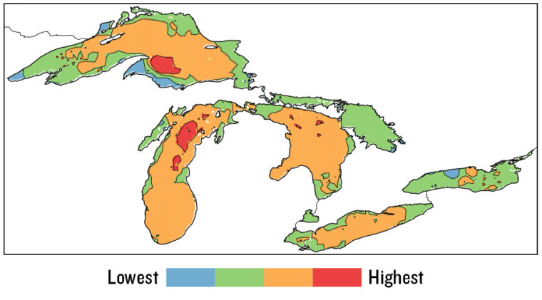 The Great Lakes Wind Atlas shows relative mean wind speed for various locations around the lake. Graphic adapted from Doubrawa, P., et al. 2015. Satellite winds as a tool for offshore wind resource assessment: The Great Lakes Wind Atlas. Remote Sensing of Environment 168: 349–359.