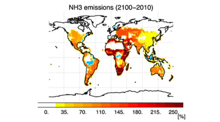 Ammonia emissions are predicted to increase in many parts of the world in decades ahead. Source: Bauer et al. 2016. Significant atmospheric aerosol pollution caused by world food cultivation. Geophys. Res. Lett. 43: 5394–5400