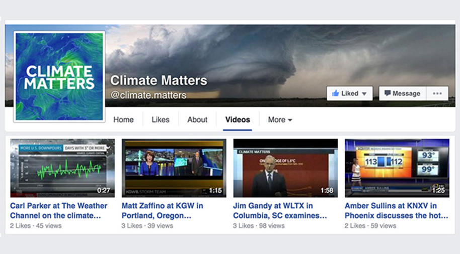 Climate Matters' Facebook page shares links to clips of TV meteorologists talking climate change with their audiences.