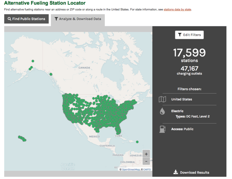 EV charging stations are increasingly available across the U.S. Click for interactive version.