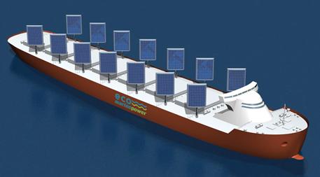 Aquarius Ecoship powered by wind and sun