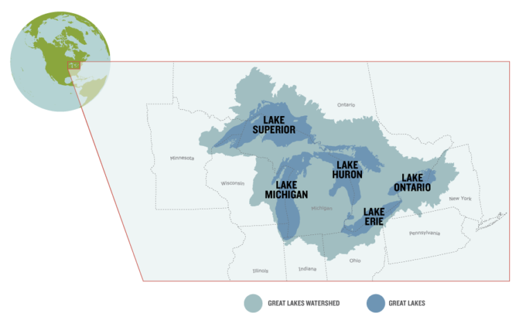 map of the Great Lakes watershed