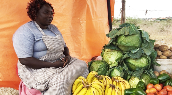 Bananas being sold by a street vendor in Nairobi.