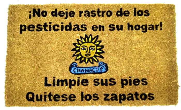 """doormat with a message in Spanish to """"wipe your feet and remove your shoes"""""""