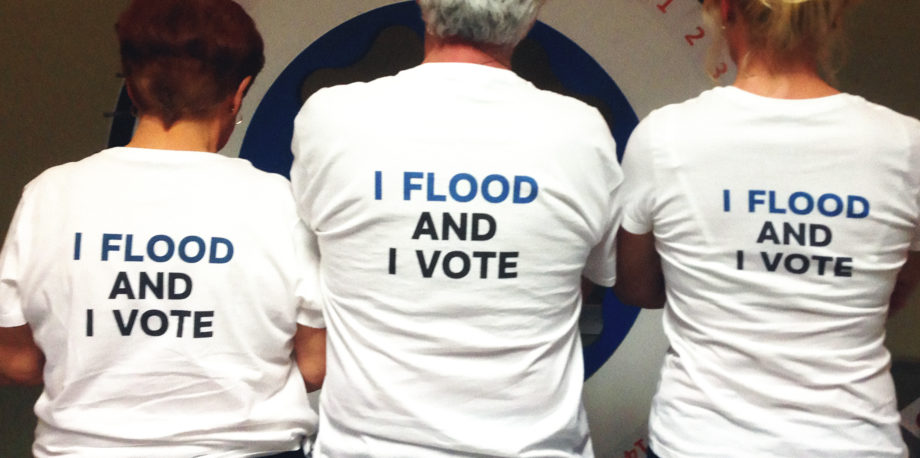 """I Flood and I Vote"". Floodlothian Midlothian"