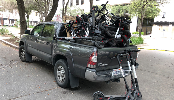 truck full of scooters