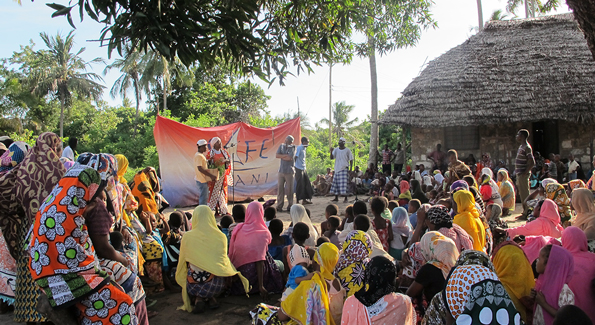theatre event is being used to explore community resilience in villages on the South coast of Kenya