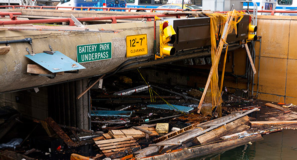 The flooded Battery Park Underpass in Manhattan following Superstorm Sandy
