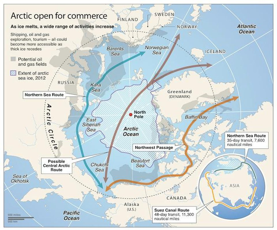 Map of Arctic commerce routes