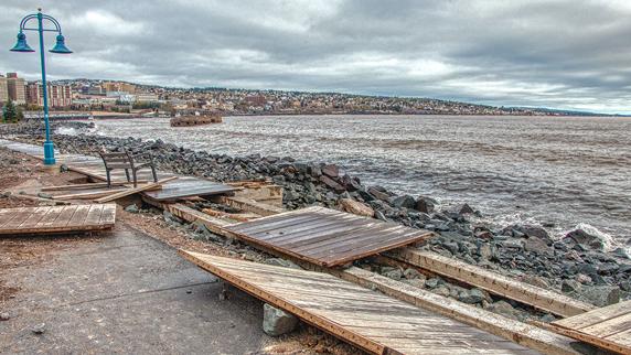 Duluth Lakewalk storm damage 2019