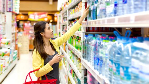 plastic bottles in store