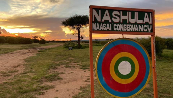 Entrance sign to Nashulai Maasai Conservancy