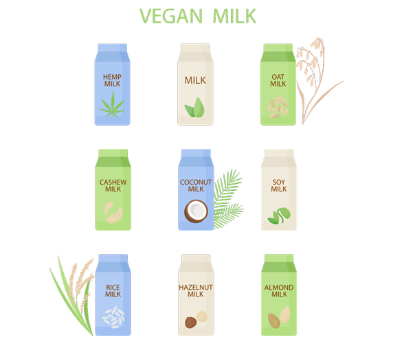 illustration of vegan milks