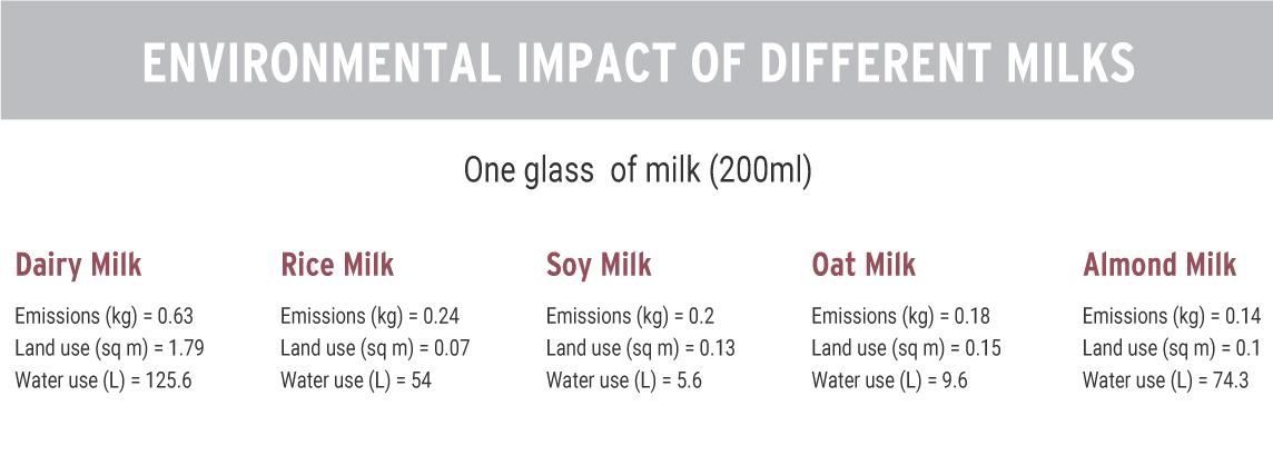 Comparison of environmental impacts of different milks