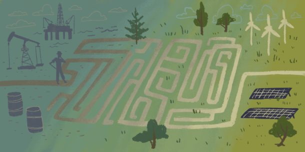 illustration of oil worker and maze leading to low-carbon future