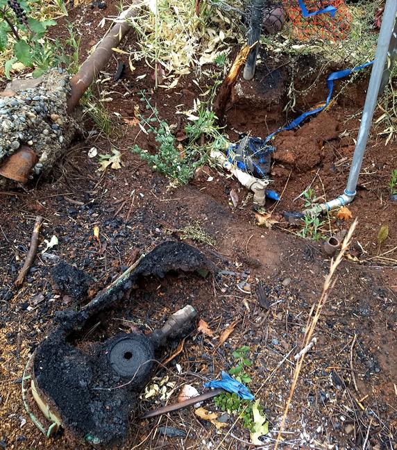 burned water meter