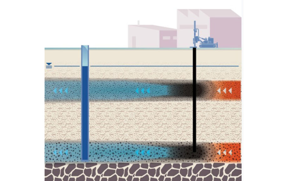 Drawing showing groundwater being treated to remove chemicals