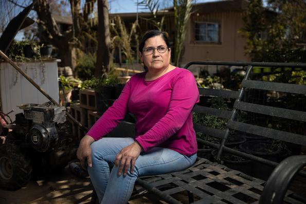 Ramona Hernandez in her garden in El Adobe, California.