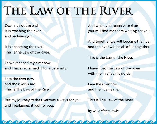 The Law of the River poem by Willardene Lewis