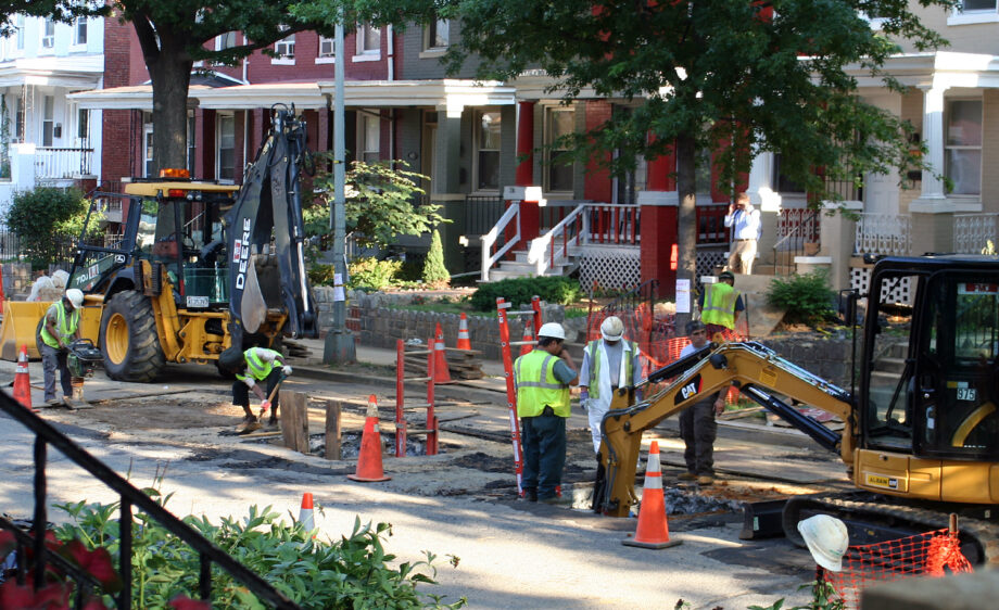 Water And Sewer Authority removing lead pipe along Irving Street NW, Washington DC.