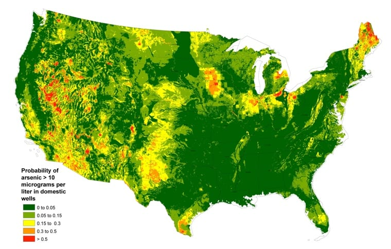 probability of arsenic > 10 micrograms per liter in domestic wells map